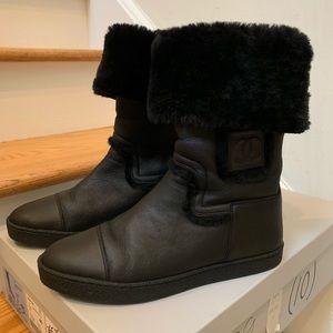 NIB Chanel Black Shearling Boots Eur sz 40.